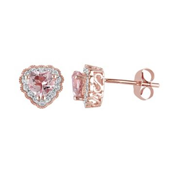 Morganite & 1/10 Carat T.W. Diamond 10k Rose Gold Heart Stud Earrings
