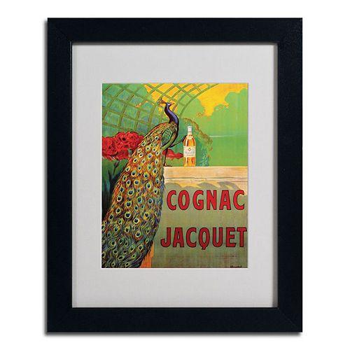 14'' x 11'' ''Cognac Jacquet'' Peacock Framed Canvas Wall Art