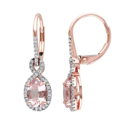 Morganite and 1/4 Carat T.W. Diamond 10k Rose Gold Drop Earrings