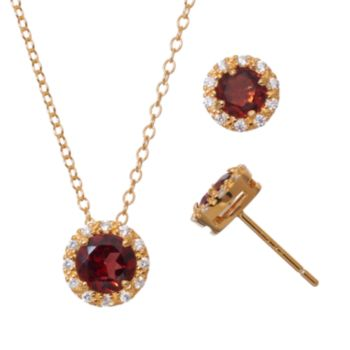 Garnet & Cubic Zirconia 18k Gold Over Silver Halo Pendant Necklace & Stud Earring Set
