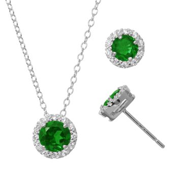 Lab-Created Emerald & Cubic Zirconia Sterling Silver Halo Pendant Necklace & Stud Earring Set