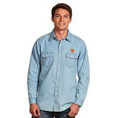 Men's Antigua Clemson Tigers Chambray Button-Down Shirt