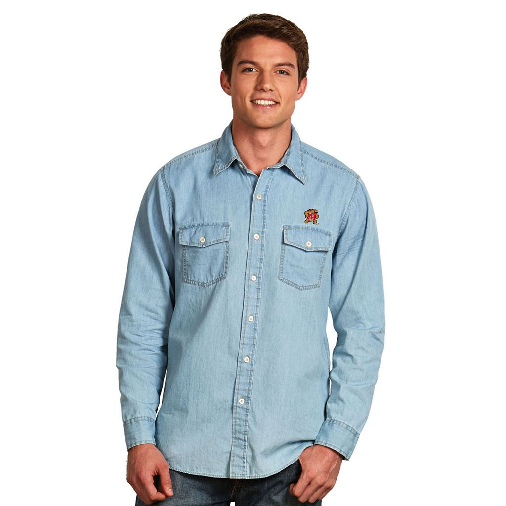 Men's Antigua Maryland Terrapins Chambray Button-Down Shirt
