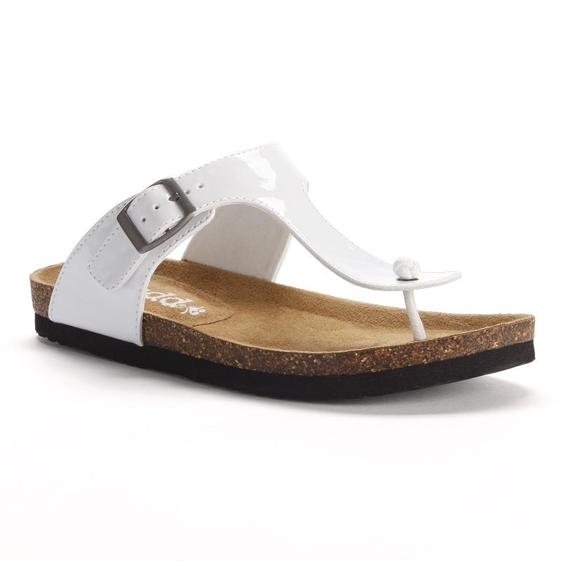 2ae551c6161 Mudd White T-Strap Thong Footbed Sandals - Women
