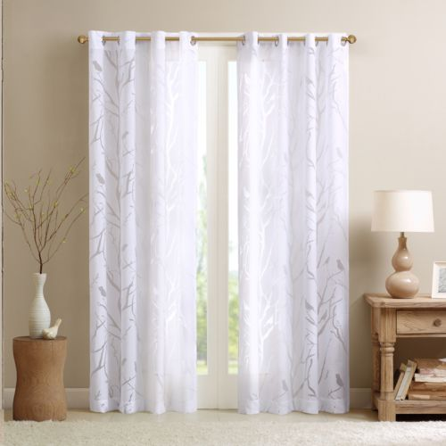 "Madison Park Vina Sheer Bird Curtain – 50"" x 84"""
