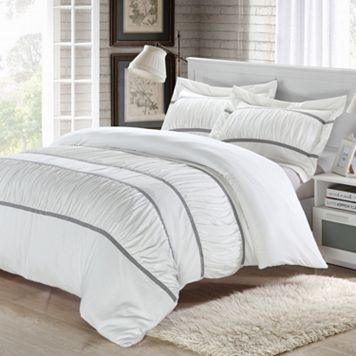 Betsy 3-pc. Ruffled White Duvet Cover Set