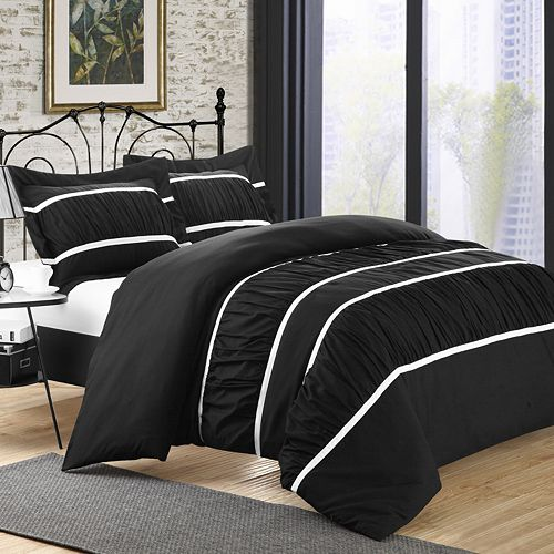 Betsy 3-pc. Ruffled Black Duvet Cover Set