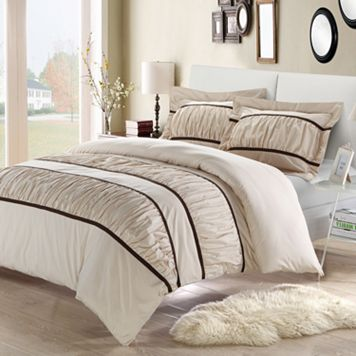 Betsy 3-pc. Ruffled Beige Duvet Cover Set