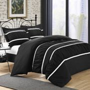 Betsy Black 7 pc Ruched Duvet Cover Set