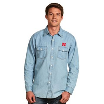Men's Antigua Nebraska Cornhuskers Chambray Button-Down Shirt