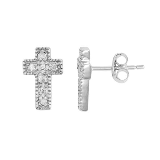 Itsy Bitsy 1/10 Carat T.W. Sterling Silver Cross Stud Earrings