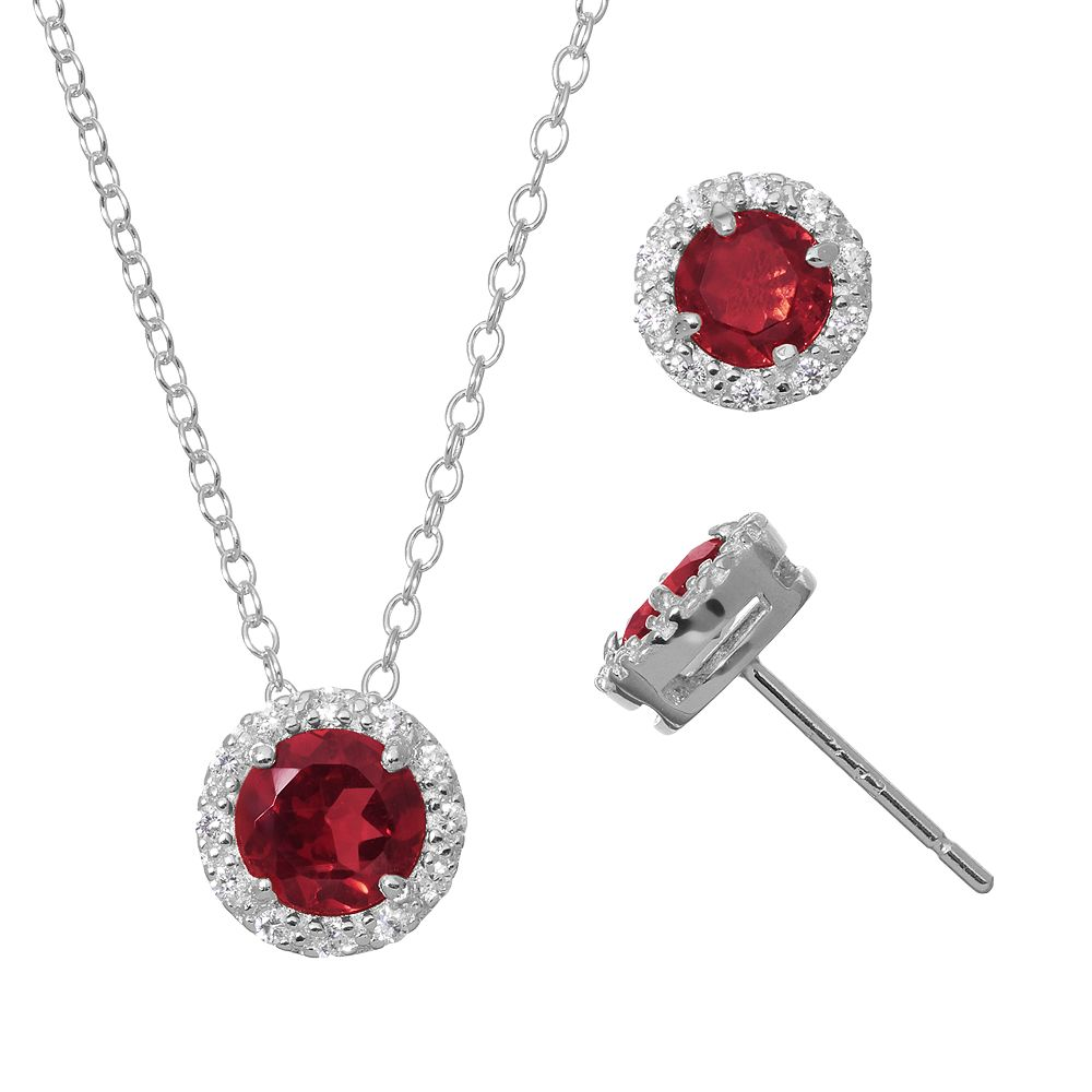 cb0b39ab1e1 Lab-Created Ruby & Cubic Zirconia Sterling Silver Halo Pendant Necklace &  Stud Earring Set