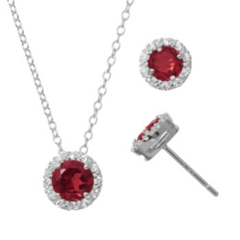 Lab-Created Ruby & Cubic Zirconia Sterling Silver Halo Pendant Necklace & Stud Earring Set