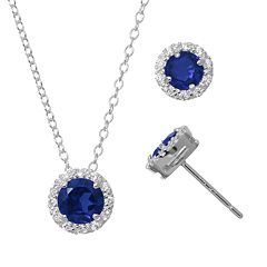 Lab-Created Sapphire & Cubic Zirconia Sterling Silver Halo Pendant Necklace & Stud Earring Set