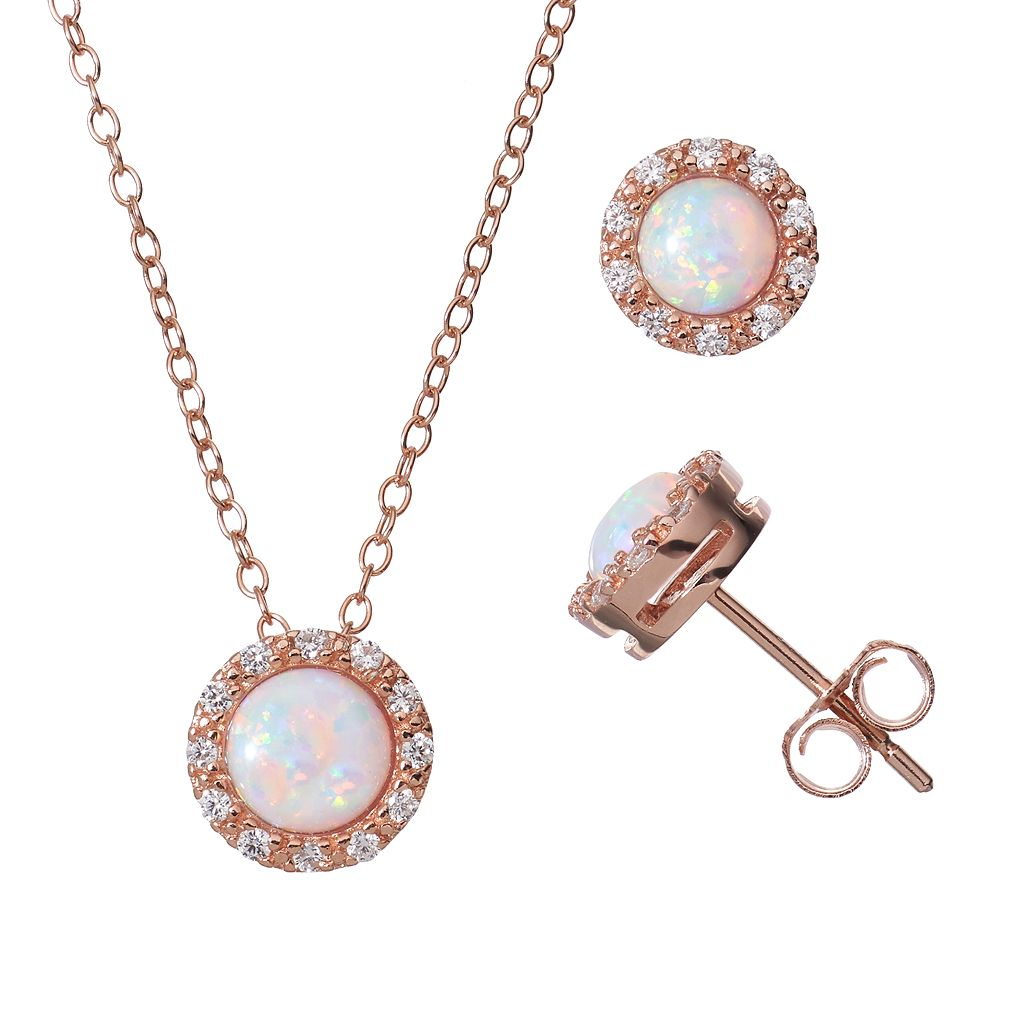 Lab-Created Opal & Cubic Zirconia 18k Rose Gold Over Silver Halo Pendant Necklace & Stud Earring Set