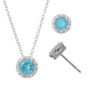 Blue Topaz & Cubic Zirconia Sterling Silver Halo Pendant Necklace & Stud Earring Set