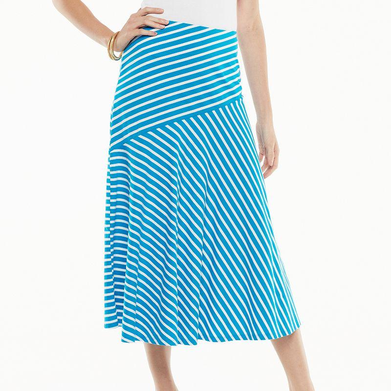 Chaps Striped A-Line Skirt - Women's