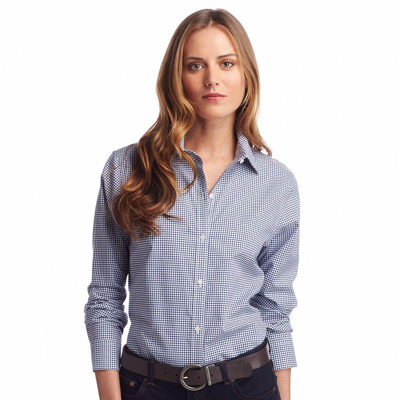 Pink construction shirt kohl 39 s for No iron white shirt womens