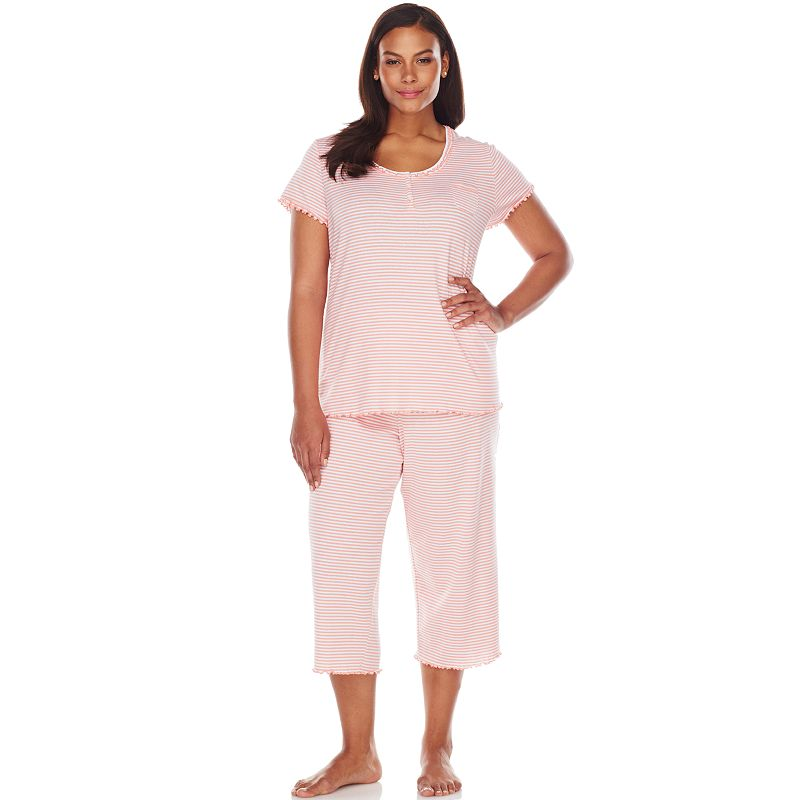 Chaps Pajamas: West Hampton Striped Pajama Set - Women's Plus