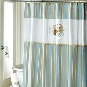 Avanti By the Sea Fabric Shower Curtain