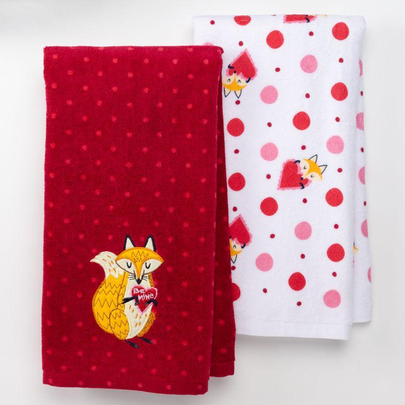 Valentine Day Chevron Hearts Kitchen Towel Set