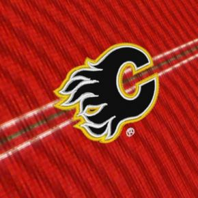Men's Calgary Flames Deluxe Striped Desert Dry Xtra-Lite Performance Polo