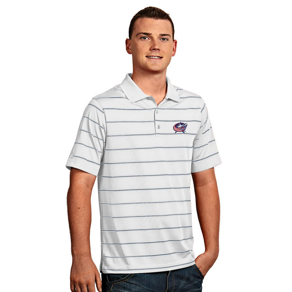 Men's Columbus Blue Jackets Deluxe Striped Desert Dry Xtra-Lite Performance Polo