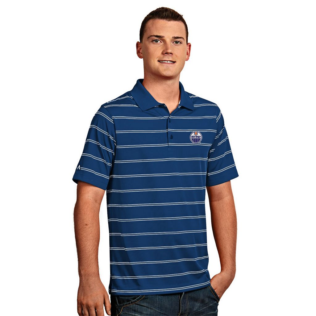 Men's Edmonton Oilers Deluxe Striped Desert Dry Xtra-Lite Performance Polo