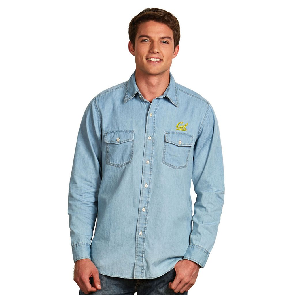 Men's Antigua Cal Golden Bears Chambray Button-Down Shirt