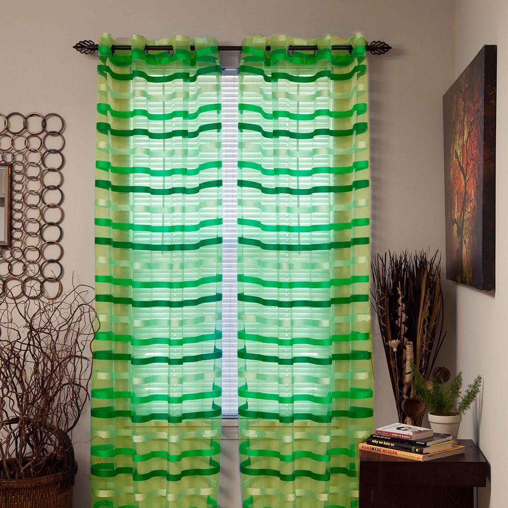 Portsmouth Home Sonya Striped Sheer Curtains - 54'' x 84''