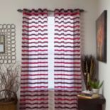 Portsmouth Home Sonya Striped Sheer Window Curtains - 54'' x 84''