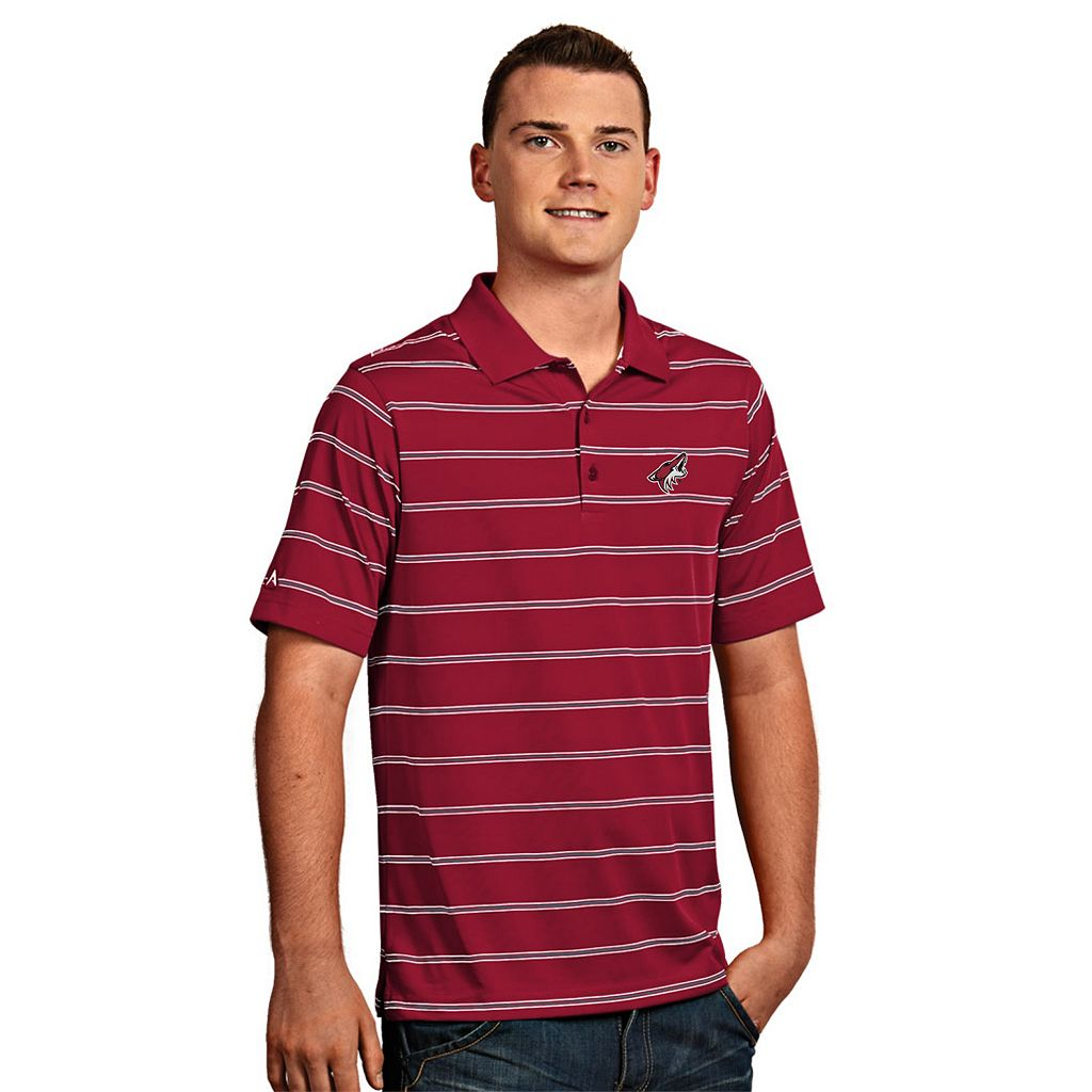 Men's Arizona Coyotes Deluxe Striped Desert Dry Xtra-Lite Performance Polo