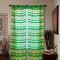 Portsmouth Home Sonya Striped Sheer Window Curtains