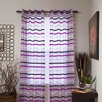 Portsmouth Home Sonya Striped Sheer Window Curtains - 108'' x 54''