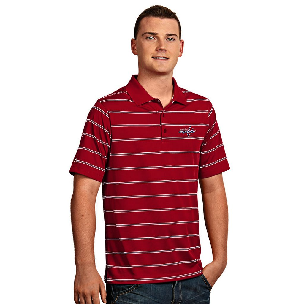 Men's Washington Capitals Deluxe Striped Desert Dry Xtra-Lite Performance Polo