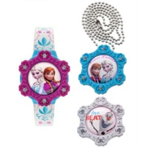 Disney Frozen Elsa, Anna and Olaf Kids' Interchangeable Face Cover Digital Watch and Pendant Set