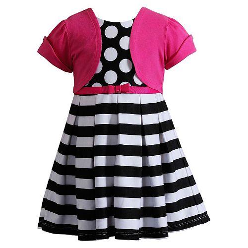 Youngland Striped Dot Dress Amp Cardigan Set Girls 4 6x