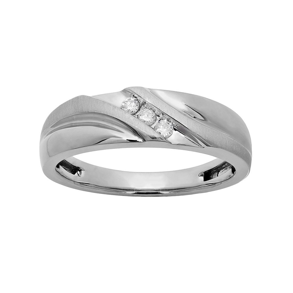 1/10 Carat T.W. 10k White Gold Wedding Band - Men