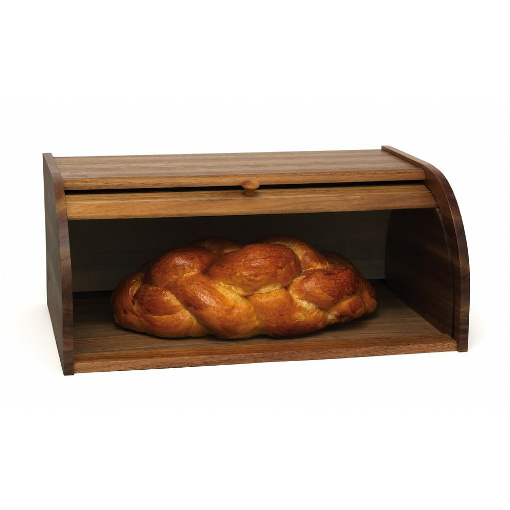 Lipper Acacia Roll Top Bread Box
