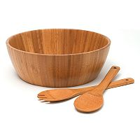 Lipper Bamboo 3 pc Salad Serving Bowl & Utensil Set
