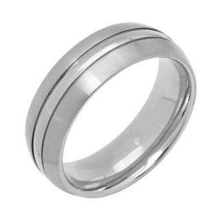 Titanium Striped Wedding Band - Men