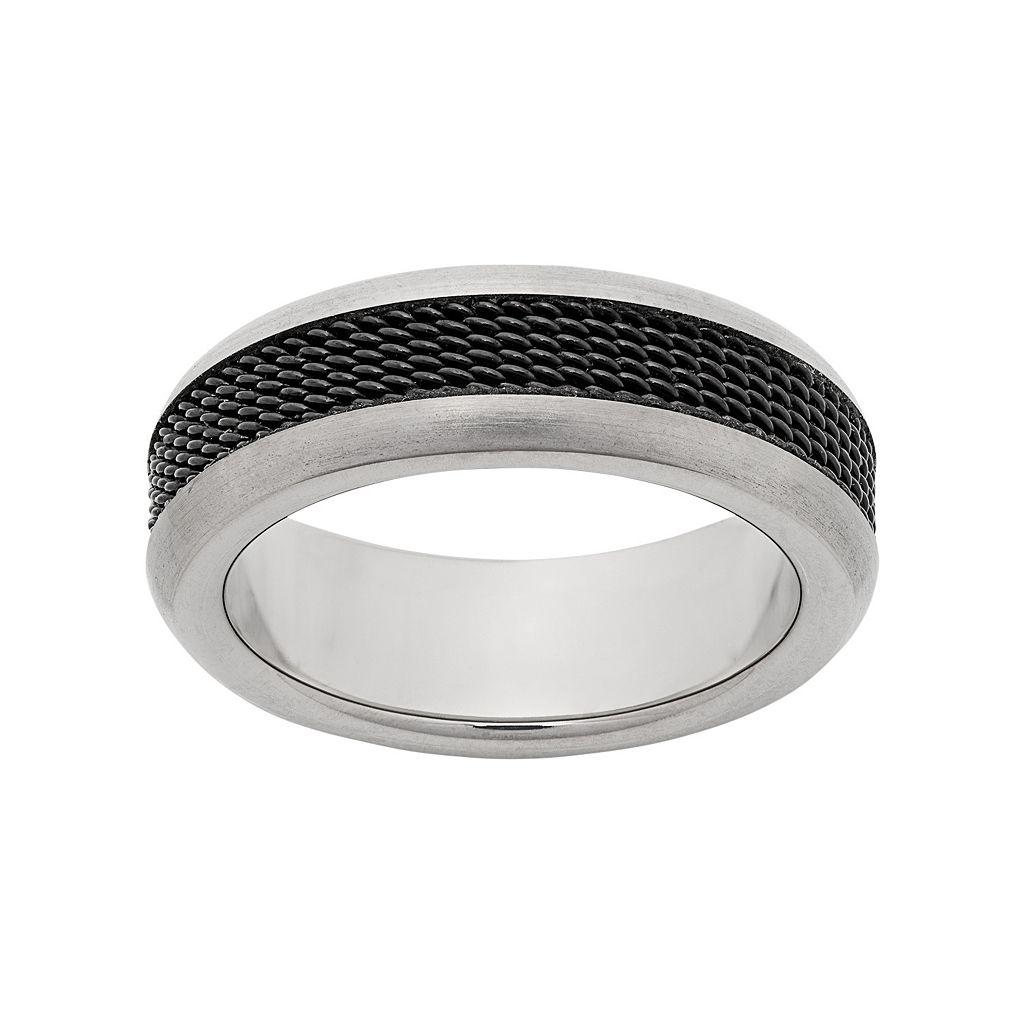 Titanium & Black Ion-Plated Titanium Mesh Wedding Band - Men