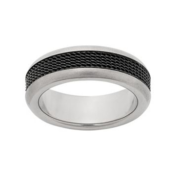 Titanium & Black Ion-Plated Titanium Mesh Wedding Band - Men