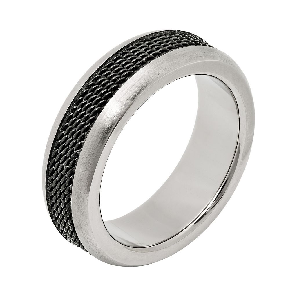 Titanium and Black Ion-Plated Titanium Mesh Wedding Band - Men