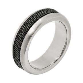 Titanium and Black Ion-Plated Titanium Mesh Wedding Band - Men
