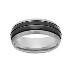 Titanium & Black Ion-Plated Titanium Striped Wedding Band - Men