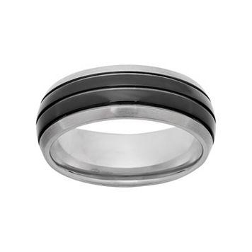 Titanium & Black Ion-Plated Titanium Striped Wedding Band - Men