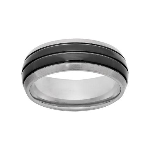 Titanium and Black Ion-Plated Titanium Striped Wedding Band - Men