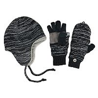 MUK LUKS Side-Marled Trapper Hat & Mittens - Men