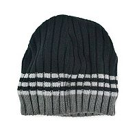 MUK LUKS Striped Ribbed Beanie - Men